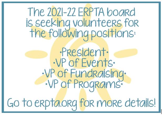 ERPTA announcement seeking volunteers for various position