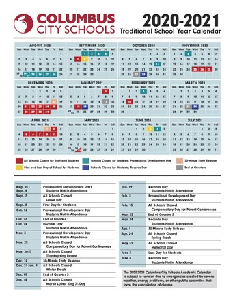 Traditional School Calendar