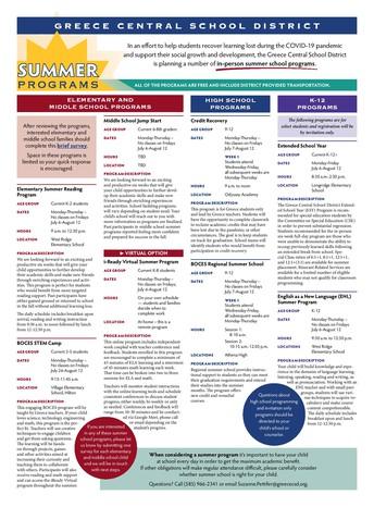 Summer Reading Program Information: