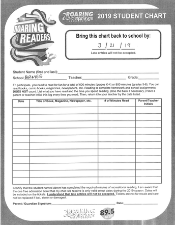 Roaring Readers (due by March 21, 2019)