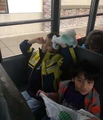 ...sharing a bus seat with your buddy!