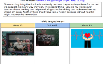 "Maestra Jeannette's ""My values"" project"