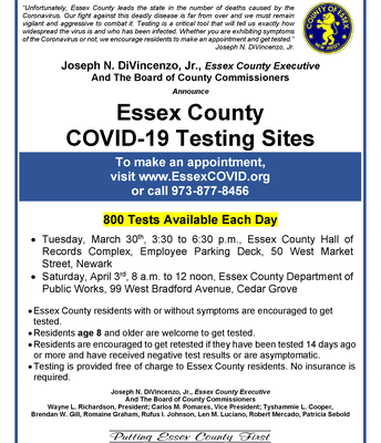 Essex County COVID Testing Sites