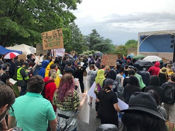 Image shows peaceful protesters at Baker Park.