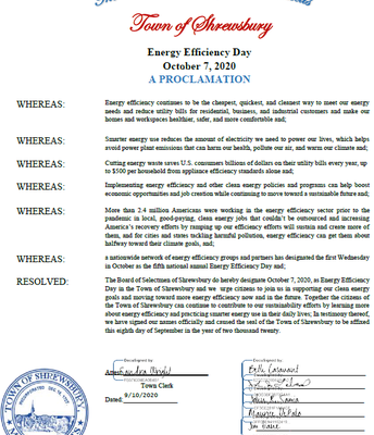 Board Proclaims October 7, 2020 as Energy Efficiency Day