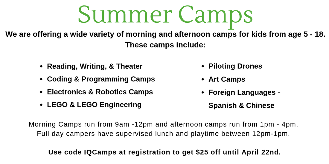 Visit our Summer Camp Page for descriptions of the camps and more information.