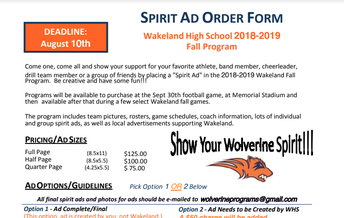 Wakeland Fall Spirit Ad Order Form - Football Program