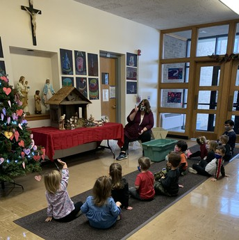 Nativity Story with Mrs. Morgan and Mrs. Moore's class