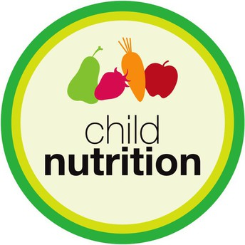 child nutrition logo with fruit and vegetables