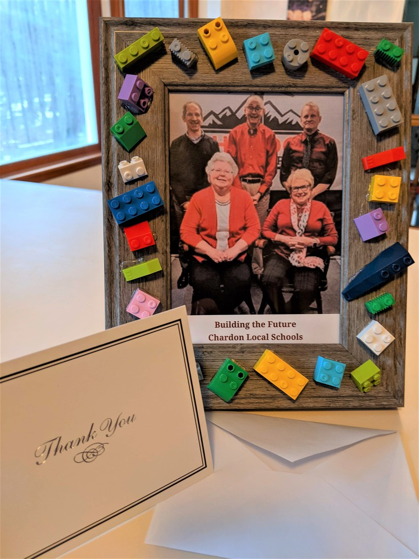 Lego-Framed Photo of BOE Members - made by Chardon Middle School