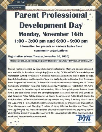 PTA Parent Professional Development Day