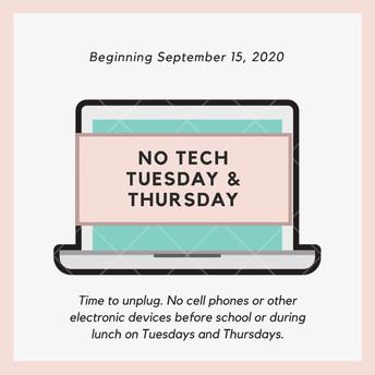 No Tech Tuesdays & Thursdays