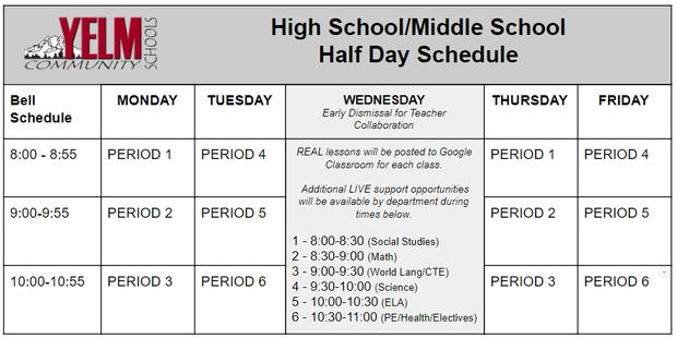 Half Day Schedule - HS/MS