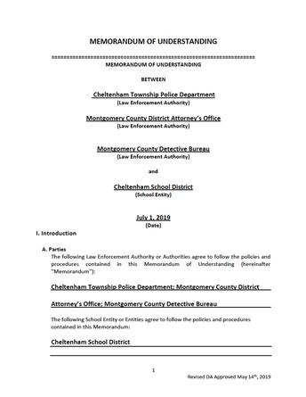 New Memorandum of Understanding