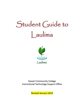 Student Guide to Laulima - Updated for Spring 2018