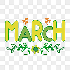 March with leaves, clover and flower