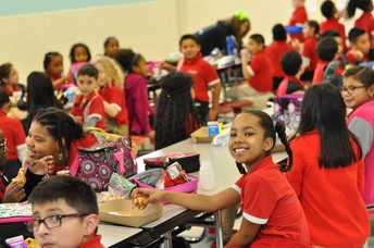 Third grade enjoying their lunch break