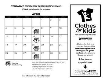 Tentative Food Box Distribution Days/Clothes for Kids