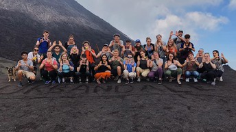 "Student group in Guatemala visiting a volcano...and showing their ""U"" spirit."