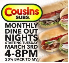 Dine & Donate Night at Cousins Subs
