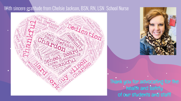 Thank You Graphic and Photo of Mrs. Chelsie Jackson, Park & Maple School Nurse