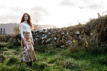 Eco printed felt skirt