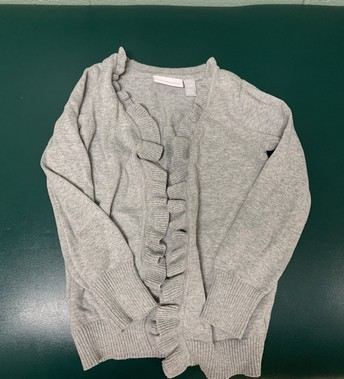 Grey ruffle cardigan - size 6