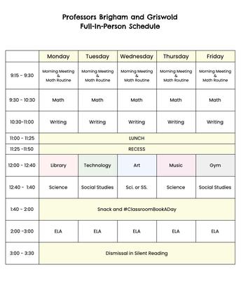 This Week's Schedule & Our Specialist Schedule