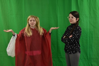 The 6th Grade is making some great use out of our new green screen. We can't wait to see the final product!