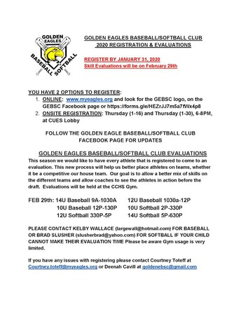 Golden Eagle Baseball Softball Club registration has begun.
