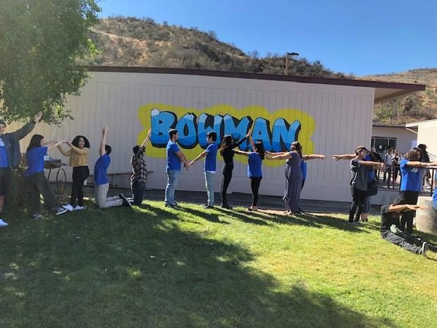 """Bowman ASB students spell out the school motto of """"You Matter."""""""