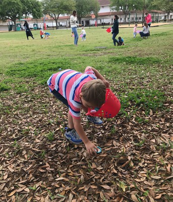 finding eggs in the leaves!