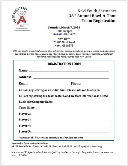 Bowl-a-thon Registration