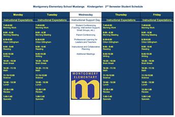 Second Semester Master Schedule