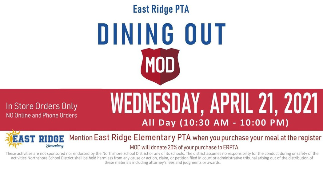Dining out Mod Pizza- in store fund raiser
