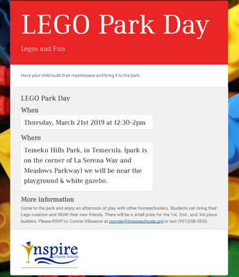Inspire LEGO Park Day