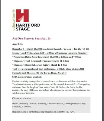 Hartford Stage Classes -  Seussical Jr. Performance
