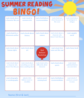 The Red Balloon Summer Reading Bingo