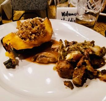 Buckwheat Stuffed Acorn Squash w/ Rosemary Mushroom Gravy and a side of stuffing