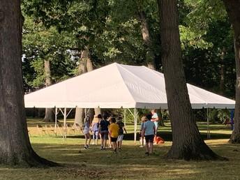 Mr. Webster taking PE under the big tent