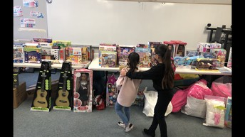 Sisters selecting a toy!