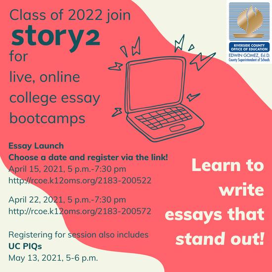 College Essay Bootcamp Flyer