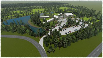 Aerial Rendering of South Campus
