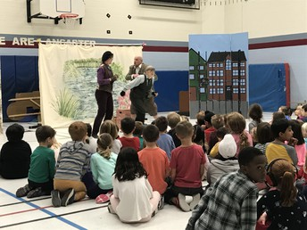 """Grades K-6 thoroughly enjoyed the dramatic LTTC performance of """"The Wind and The Willows"""", a story of friendship to support our school goals"""