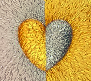Silver and gold heart