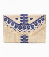 City Slim Clutch - Embroidered Indigo