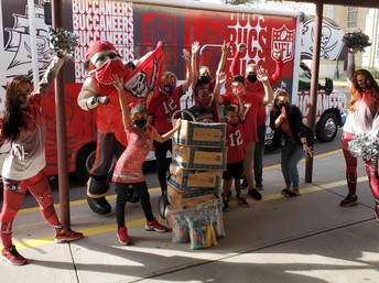 Congratulations to Shore Arts Magnet School! It was chosen by the Tampa Bay Buccaneers Foundation for its incredible Bucs spirit during the Super Bowl run! The Foundation dropped off boxes of supplies for the school to thank them for Raising the Flag!