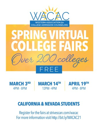 April 19th  4-8pm - WACAC Spring Fair for California and Nevada Students