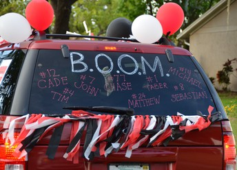 Coaches, players and parents created a caravan to celebrate the Bloomingdale High School Lacrosse Team Seniors