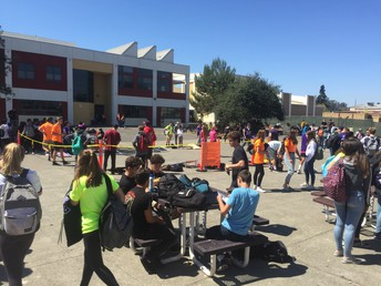 The Quad is alive at lunch as...